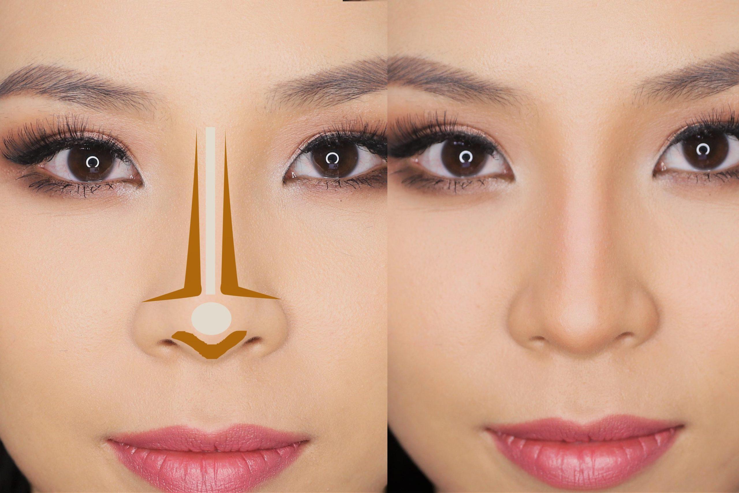 رفع قوز بینی با آرایش با ترفندهای خاص میکاپ و کوچک نشان دادن بینی