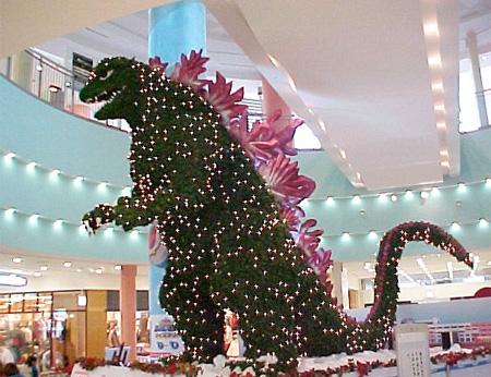 درخت کریسمس گودزیلا شکل در ژاپن