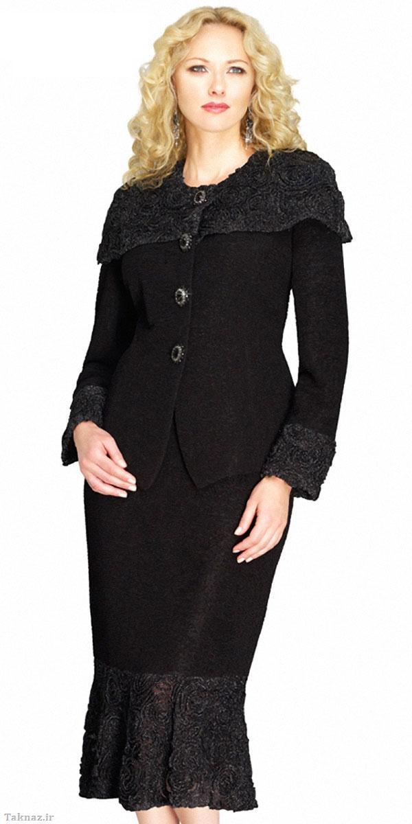 مدل کت و دامن و کلاه مجلسی شیک زنانه