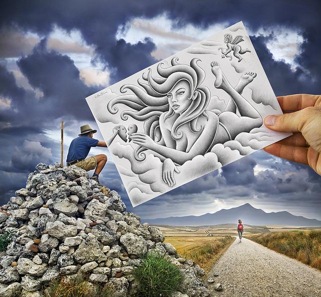 ترکیب بسیار هنرمندانه نقاشی و عکاسی